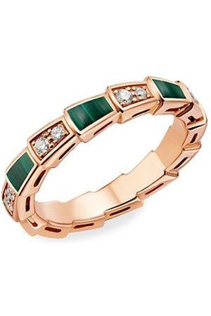 Bvlgari Serpenti Viper 18K Rose , Diamond & Malachite Ring