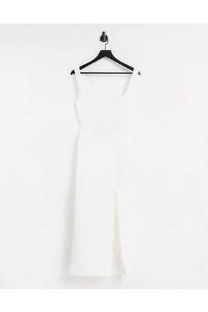 True Violet Exclusive square neck bodycon midaxi dress with thigh split in ivory