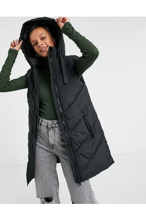 JDY Padded lightweight gilet with hood in