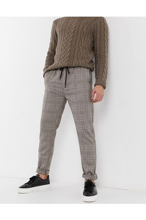 Brave Soul Check trousers in grey