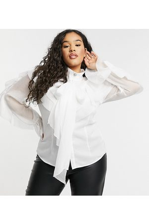 Forever U Curve Exaggerated ruffle blouse with oversized sleeves in ivory