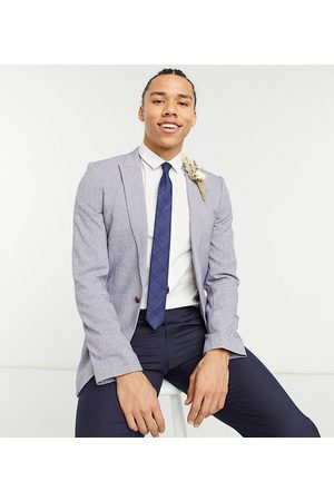 ASOS Tall wedding super skinny suit jacket in dark cross hatch