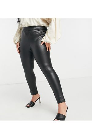 Simply Be High waisted faux leather leggings in