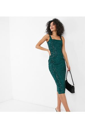 Club L London Sequin square neck midi pencil dress in emerald