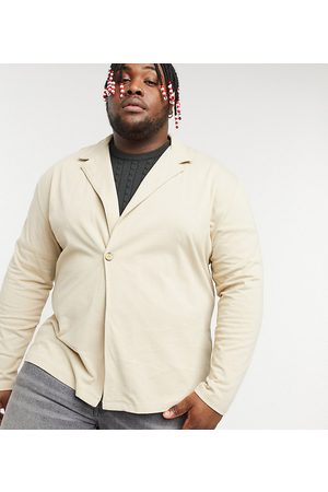 ASOS Plus heavyweight long sleeve wrap jersey shirt in