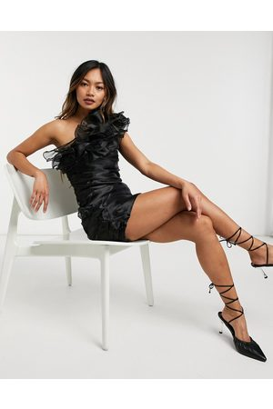Forever U Asymmetric ruffle mini dress in organza