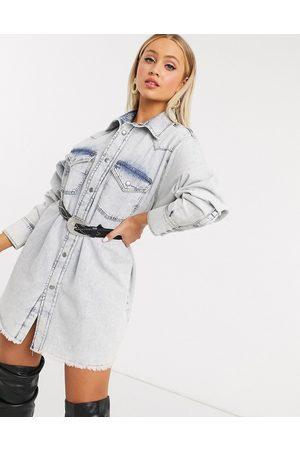 ASOS Denim oversized shirt dress in lightwash