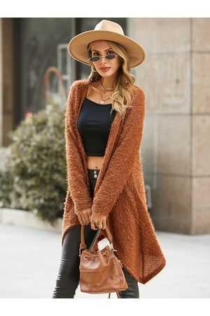 YOINS Fluffy Knit Irregular Hem Long Sleeves Cardigan