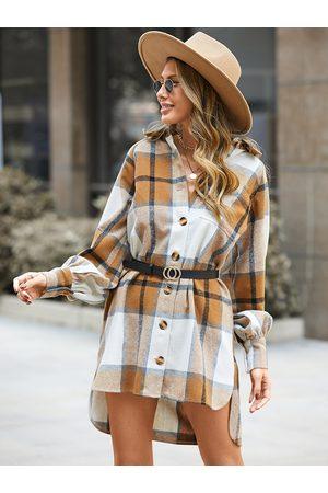 YOINS Lapel collar Plaid High-low Hem Mini Dress