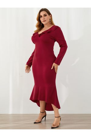 YOINS Plus Size V-neck Ruffle Trim Long Sleeves Dress