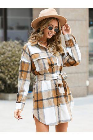 YOINS Lapel collar Plaid Belt design Dress