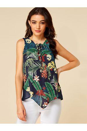 YOINS Criss-cross Tropical Floral Sleeveless Camis