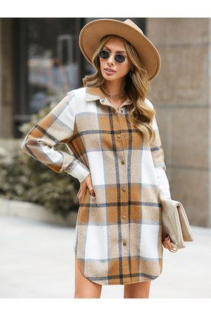 YOINS Lapel collar Plaid Long sleeves Dress