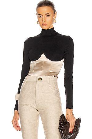 FLEUR DU MAL Mock Neck Long Sleeve Bodysuit in ,Neutral