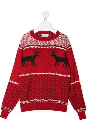 SIOLA Reindeer-motif intarsia-knit jumper
