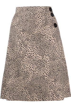 Yves Saint Laurent Women Printed Skirts - Leopard-print skirt