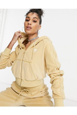 adidas Relaxed Risqué' velour zip through hoodie in