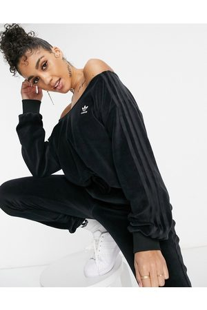 adidas Relaxed Risqué' velour off the shoulder sweatshirt in