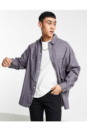 ASOS Extreme oversized flannel shirt in charcoal