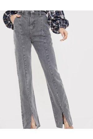 In The Style X Olivia Bowen high waisted split front straight leg jean in