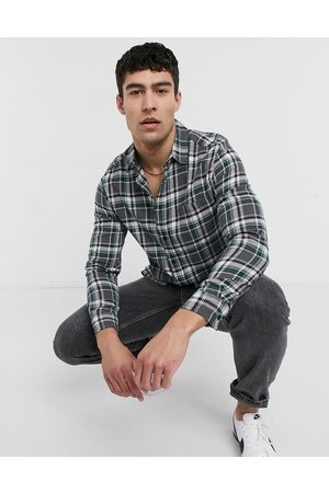 ASOS Brushed flannel check overshirt in and green