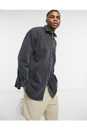 ASOS Extreme oversized denim shirt in with contrast stitch