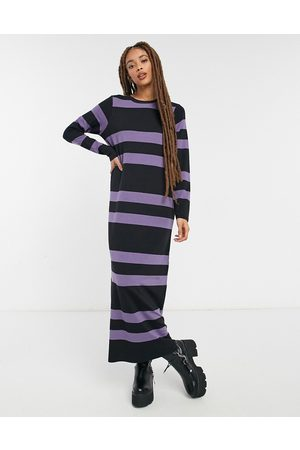 ASOS Long sleeve maxi t-shirt dress in dusty and black stripe