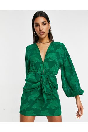 ASOS Plunge tie front mini dress in floral jacquard in