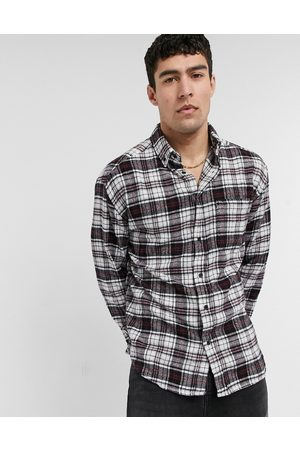 ASOS 90s oversized check shirt in and black brushed flannel
