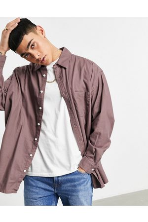 ASOS Extreme oversized flannel shirt in taupe