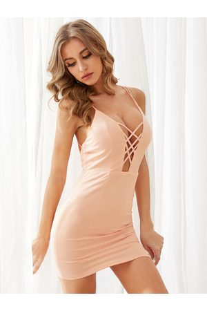 YOINS Women Bodycon Dresses - Criss-Cross Backless Mini Dress