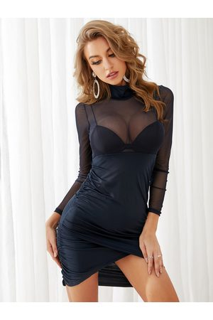 YOINS Sheer-throungh Blue Mesh Pleated Bodycon Dress