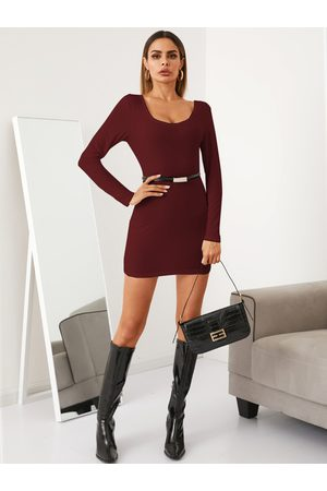 YOINS BASICS Square Neck Bodycon Fit Belt Design Mini Dress