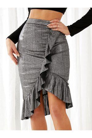 YOINS Flounced Details High-waisted Iregular Hem Skirt