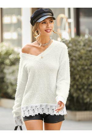YOINS Lace Patchwork Hem Fluffy Knit V-neck Long Sleeves Sweater