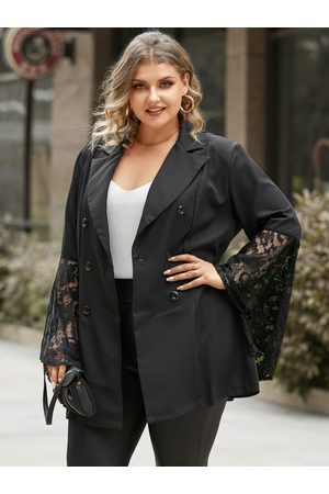YOINS Plus Size Notch Collar Patchwork Button Design Lace Long Sleeves Blazer