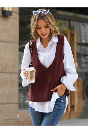 YOINS V-neck Knit Sleeveless Sweater Vest