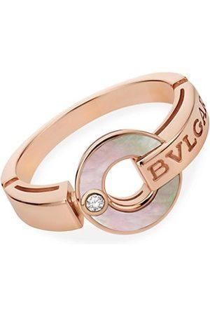 Bvlgari Rings - 18K Rose , Mother-of-Pearl & Diamond Ring
