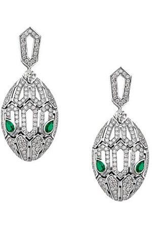 Bvlgari Earrings - Serpenti Seduttori 18K , Diamond & Emerald Drop Earrings