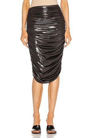 Norma Kamali Shirred To Knee Skirt in Pewter,Metallic