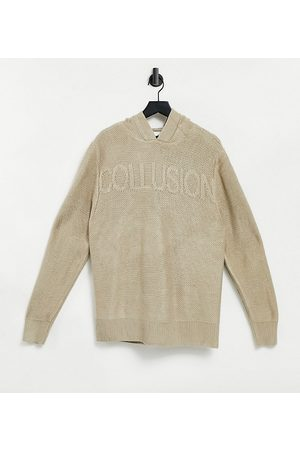 COLLUSION Unisex knitted hoodie co-ord in ecru