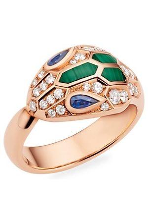 Bvlgari Serpenti Seduttori 18K Rose , Diamond, Blue Sapphire & Malachite Ring