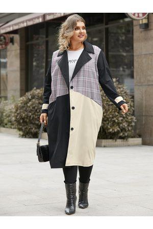 YOINS Women Coats - Plus Size Notch Collar Patchwork Pocket Design Button Design Long Sleeves Coat