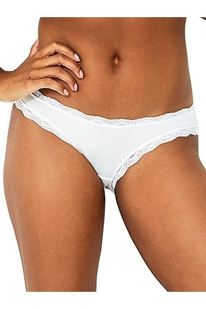 Stripe & Stare Lace-Trim Hipster Panty