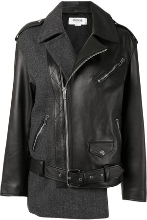 MONSE Patchwork herringbone leather biker jacket