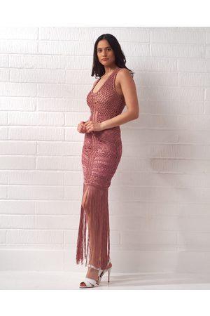 CECILIA PRADO Rose Crochet Knit Fringe Dress