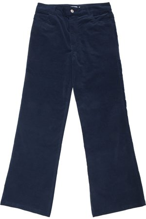 New Man Women Stretch Pants - Velvet Stretch Flared Jean Trousers - Navy