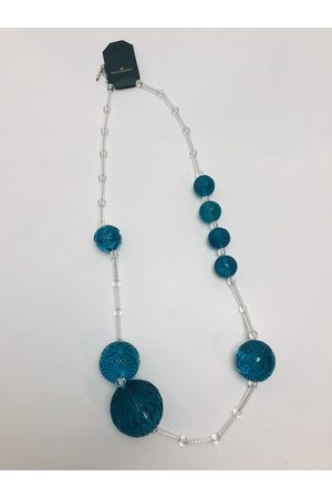 Douglaspoon Multi Sphere Necklace in Clear + Turquoise
