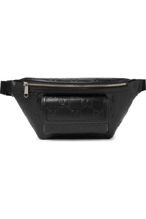 Gucci Men Belts - Logo-Embossed Perforated Leather Belt Bag