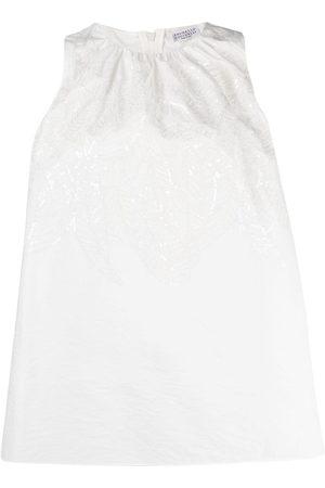 Brunello Cucinelli Embroidered sleeveless tank top